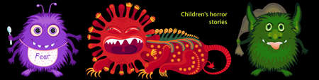 Scary images of children's fears. Creepy cartoon monster characters. Vector Illustration