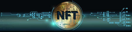 NFT theme design. Non-fungible token in circuit board style. Vector Illustration