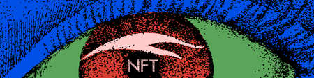 NFT theme design. Non-fungible token sign and contemporary artwork. Vector Illustration