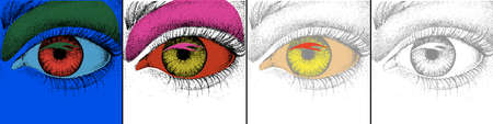 Eye design. Pop art with colorful and monochromic image of eye. Vector Illustration