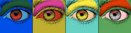 Eye design. Pop art with colorful images of eye. Vector Illustration Ilustração