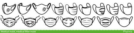 Set of medical face mask line icons. Various surgical and FFP masks and respirators. Vector Illustration