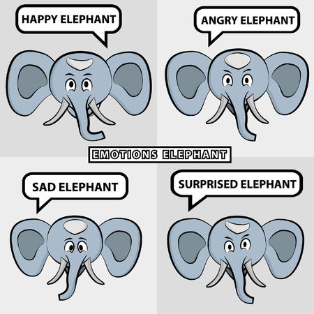 happy sad: elephants with four different emotions: happy, sad, angry, surprised.