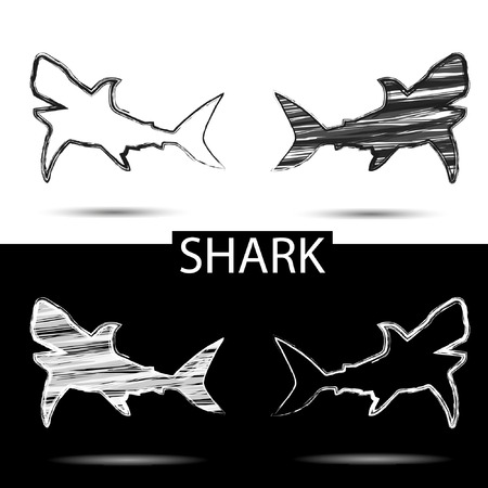 black and white: black and white silhouette of shark, painted brush
