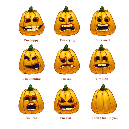 fortunately: set of icons for Halloween. umpkins with different emotions Illustration