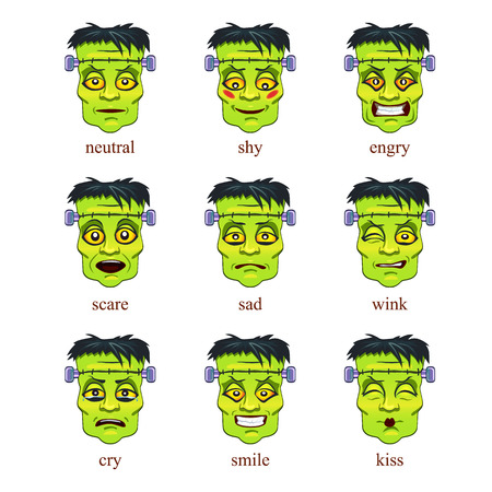 head of Frankenstein on Halloween. set of icons Illustration