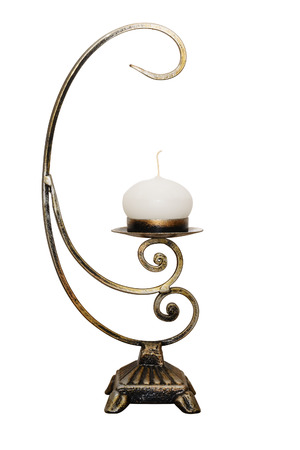 candelabrum: Forged iron candelabrum with candle