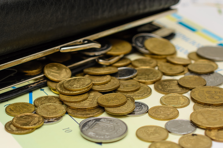 Money. Purse with coins. Stock Photo