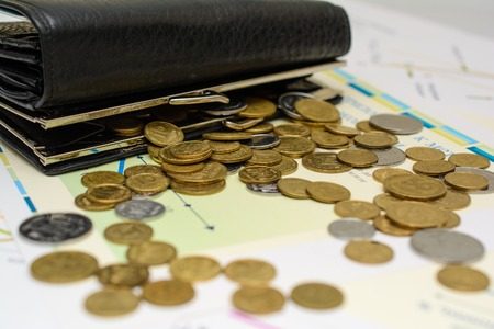 penury: Money. Purse with coins. Stock Photo