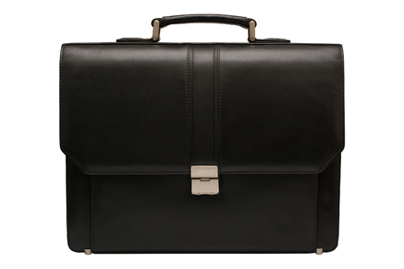 leather briefcase: Black leather briefcase. Isolated, white background.