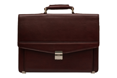 leather briefcase: Brown leather briefcase. Isolated, white background. Stock Photo
