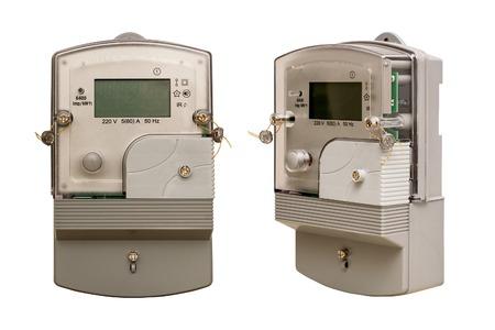 electric meter: Medidor de electricidad. Medición de la electricidad. Aislado. Fondo blanco.