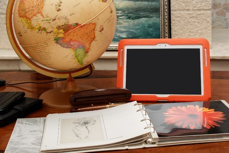 objects: Work desk with objects. Stock Photo