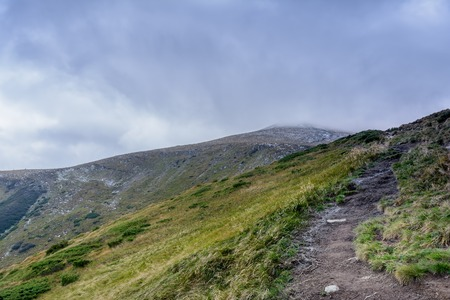 Carpathian Mountains in Ukraine. Trail to Mount Hoverla.