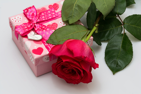 Red rose and box with red hearts. Valentines Day concept.