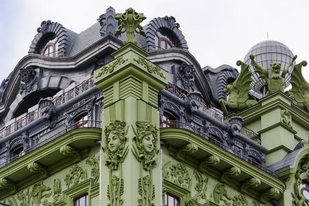 Art Nouveau. The building of hotel Big Moscow on the Deribasovskaya street in Odessa, Ukraine.