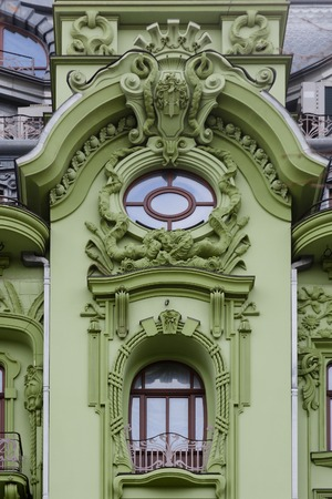 front elevation: Art Nouveau. The building of hotel Big Moscow on the Deribasovskaya street in Odessa, Ukraine.