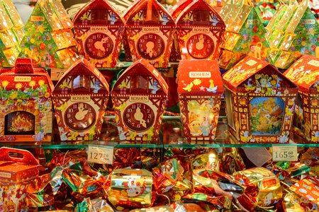 sweetstuff: Ukraine, Lviv - December, 15, 2016: Company store confectionery Roshen in Lviv on Viacheslava Chornovola Ave. Sale of holiday gifts, sets of chocolates for Christmas and New Year. Editorial