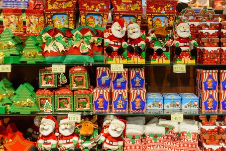 emporium: Ukraine, Lviv - December, 15, 2016: Company store confectionery Roshen in Lviv on Viacheslava Chornovola Ave. Sale of holiday gifts, sets of chocolates for Christmas and New Year. Editorial