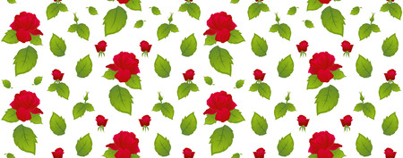 Pattern red roses with green leaves on a white background. Isolated, white background.