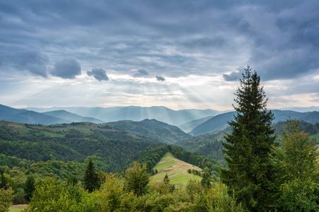 Mountain landscape at sunset. Carpathian Mountains, Mizhhiria, Ukraine.