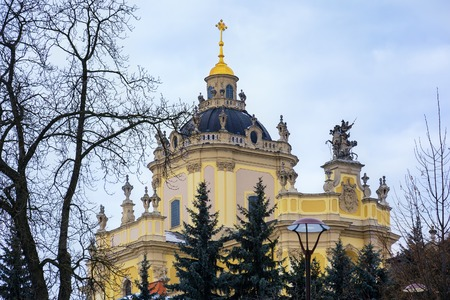 eldest: View of the St. Georges Cathedral, Lviv, Ukraine. Stock Photo