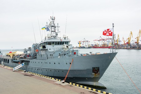 Ukraine, Odesa - March, 18, 2017: In Odessa port military ships were moored from junction of the second permanent naval mine-clearing group of NATO. The staff Polish ship 511 KontradmiraÅ X. Czernicki Editorial