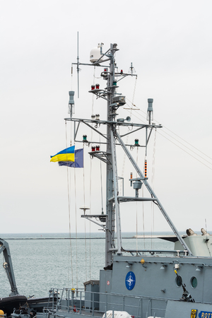 battleship: Ukraine, Odesa - March, 18, 2017: In Odessa port military ships were moored from junction of the second permanent naval mine-clearing group of NATO. Marine minesweeper - German M1061 Rottweil