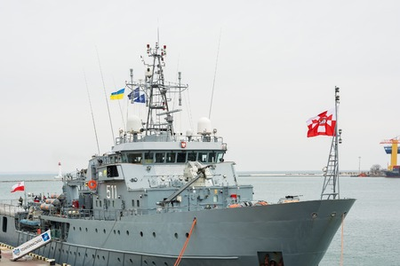 Ukraine, Odesa - March, 18, 2017: In Odessa port military ships were moored from junction of the second permanent naval mine-clearing group of NATO. The staff Polish ship 511 Kontradmiral X.Czernicki