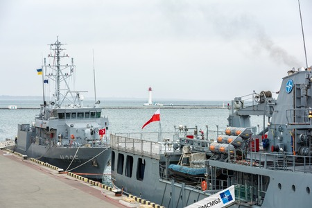 Ukraine, Odesa - March, 18, 2017: In Odessa port military ships were moored from junction of the second permanent naval mine-clearing group of NATO for exercises. Editorial