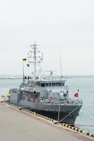 Ukraine, Odesa - March, 18, 2017: In Odessa port military ships were moored from junction of the second permanent naval mine-clearing group of NATO. Marine minesweeper - Turkish M265 Alanya
