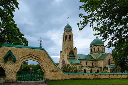 Church of the Intercession of the Blessed Virgin (Svyatopokrovsky Church) in the Parkhomivka, Kyivska oblast, Ukraine. Stock Photo