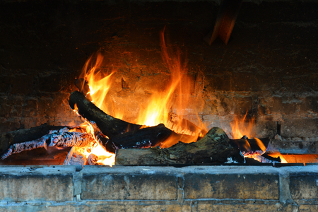 Roast, bright flame in the fireplace. Burning firewood.
