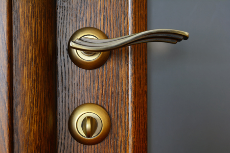 Vintage brass door handle with a latch and a lock on the wooden door.