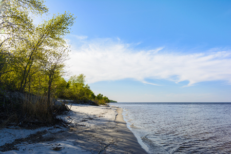 Landscape of the Dnipro coastline, sunny day, sandy beach, blue sky with clouds, river and forest. Stock Photo