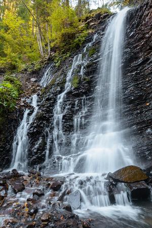 Waterfall  Zhenetskyi Hook on the Zhenets river near Mykulychyn, Ivano-Frankivska oblast, Ukraine.