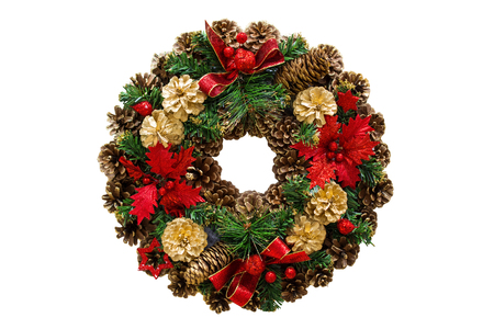 Christmas wreath of cones, spruce branches and flowers, New Years decorations. Isolated, white background. Stock Photo