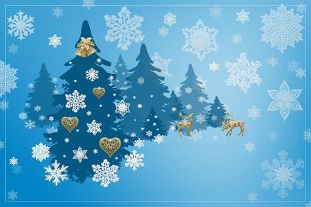 Decorazioni di Natale e Capodanno: abete natalizio con fiocchi di neve su sfondo blu.