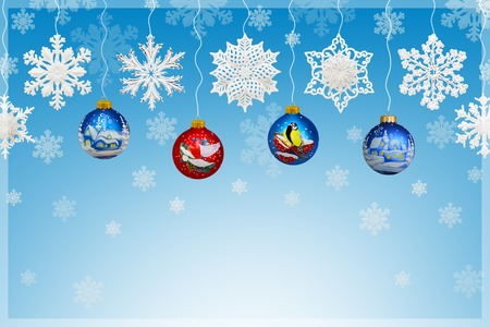 Christmas and New Year decorations: snowflakes and christmas balls on blue background.
