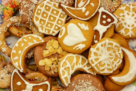 Christmas ginger cookies of different forms, homemade pastries for the holiday. Stock Photo