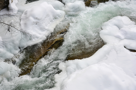 Frozen fast mountain river in winter. Spring melting of ice, springtime thaw.