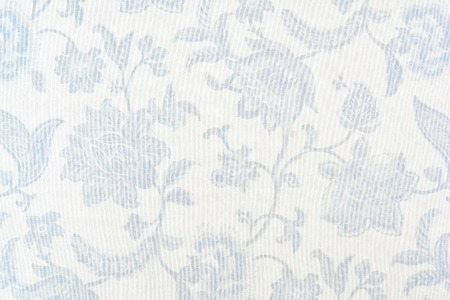 Blue Ornate Floral Pattern On White Cotton Tablecloth. Stock Photo    98550740