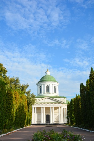 All Saints church in Nizhyn, Chernihivska oblast, Ukraine. Beautiful old building XVIII century with dome for religious purposes, Orthodox Church. Stock Photo