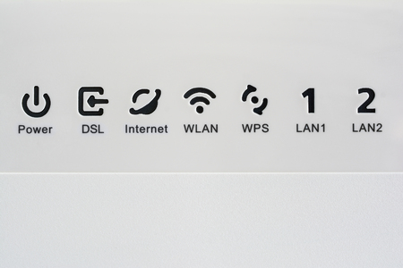 VDSL modem, combined device for modulation and demodulation.  Network icons: DSL, internet, WLAN, WPS, LAN and power.