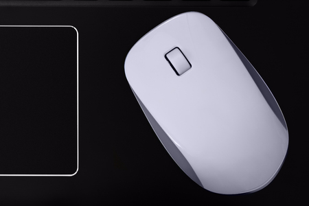 Computer mouse with scroll wheel and touchpad. PC mouse for laptop. Imagens