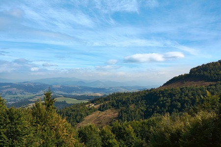 Mountain landscape, autumn sunny morning. Carpathian Mountains, Pylypets, Ukraine. 写真素材