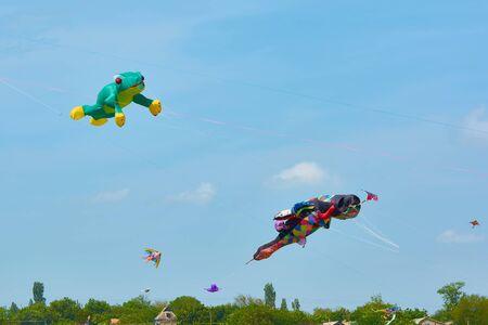 Trykhaty, Region Mykolaiv, Ukraine - 18. Mai 2019: Kitefest, Tryhutty International Kite Festival 2019 im Dorf Trykhaty, Ukraine. Jährliches Drachenfest.