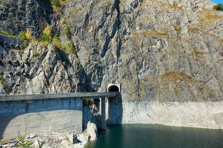 Hydropower construction, waterworks Dam Vidrau on Transfagarash highway in Romania. Dam and reservoir on Lake Vidraru.