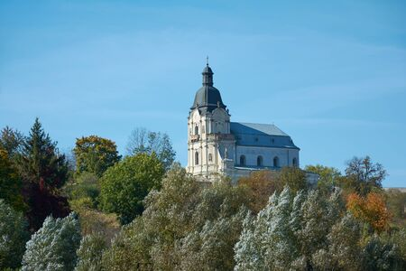 Roman Catholic Church of Holy Trinity in Mykulyntsi, Ternopil Oblast, Ukraine, 49.39972, 25.60621. Stone religious building of Christian Cathedral of baroque style.