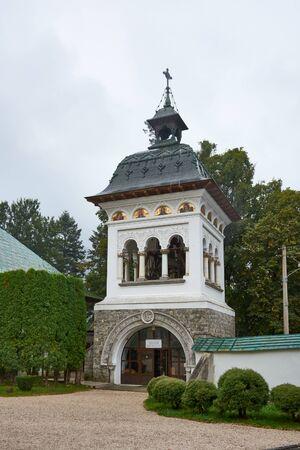 Sinaia Monastery, located in Sinaia, in Prahova County, Romania. Stone religious building of Christian Orthodox church built in the Byzantine style.